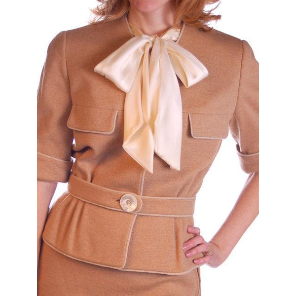 Vintage  Camel Wool Knit Suit 1950S 36-24-36 Ben Gershel By Robert Knox - The Best Vintage Clothing  - 4