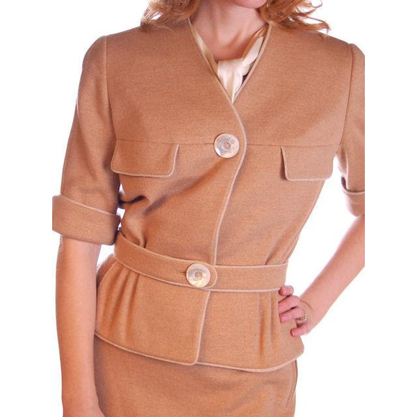 Vintage  Camel Wool Knit Suit 1950S 36-24-36 Ben Gershel By Robert Knox - The Best Vintage Clothing  - 5