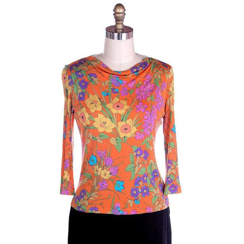 Vintage Averardo Bessi Silk Knit Floral Top  1960S S-M Bright Colors