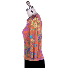 Vintage Averardo Bessi Silk Knit Floral Top  1960S S-M Bright Colors - The Best Vintage Clothing  - 2