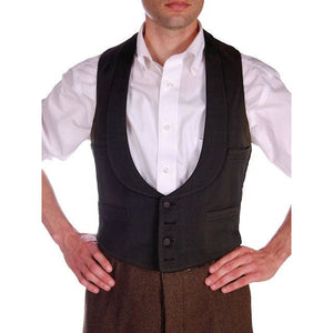 Antique Mens Victorian 4 Pocket Shawl Collar Vest Black Germany 1870s 36 Chest - The Best Vintage Clothing  - 1