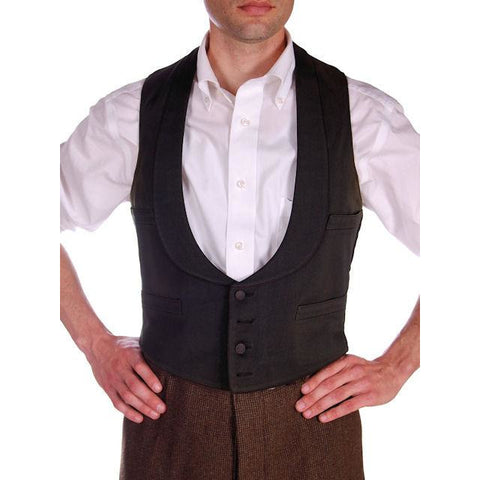 Antique Mens Victorian 4 Pocket Shawl Collar Vest Black Germany 1870s 36 Chest