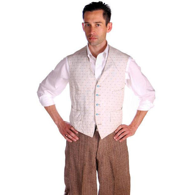 Mens Victorian 4 Pocket Linen  Woven B & W Vest Waistcoat White 39 Chest - The Best Vintage Clothing  - 1
