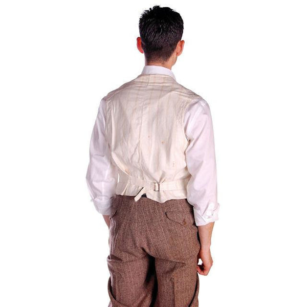 Mens Victorian 4 Pocket Linen  Woven B & W Vest Waistcoat White 39 Chest - The Best Vintage Clothing  - 5