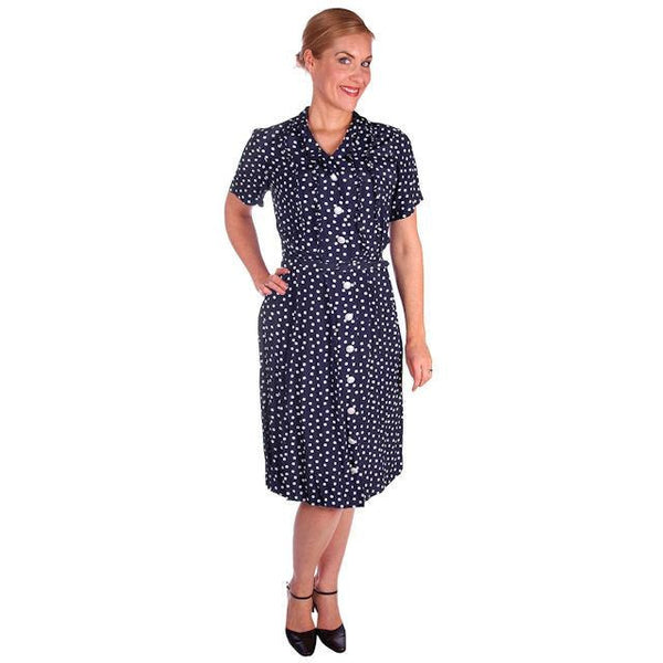Vintage Navy Blue & White Polka Dot Dream Dress Rayon 1940s 40-27-44 - The Best Vintage Clothing  - 1