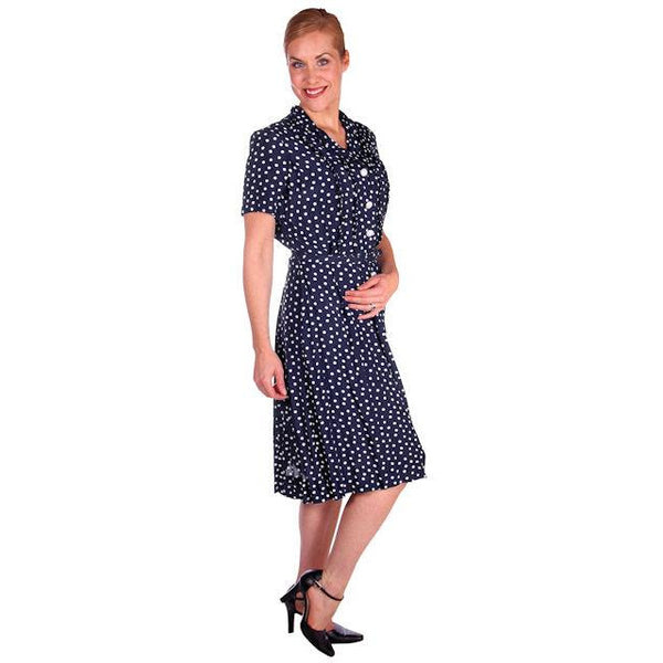 Vintage Navy Blue & White Polka Dot Dream Dress Rayon 1940s 40-27-44 - The Best Vintage Clothing  - 4