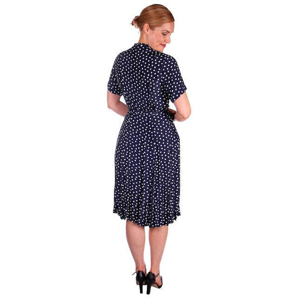 Vintage Navy Blue & White Polka Dot Dream Dress Rayon 1940s 40-27-44 - The Best Vintage Clothing  - 2