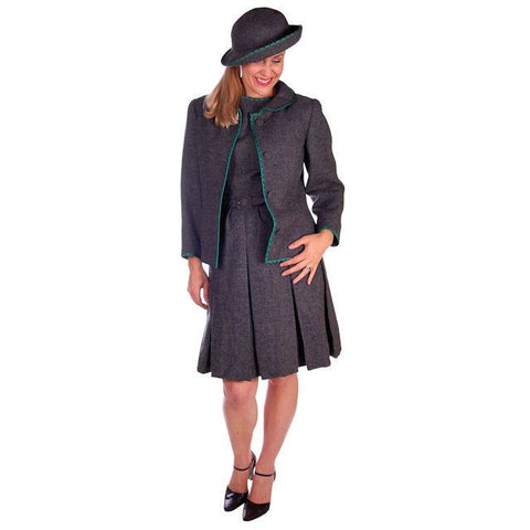 Vintage Nina Ricci  Paris Couture 1950s Gray Wool Dress Suit and Hat  36-25-38