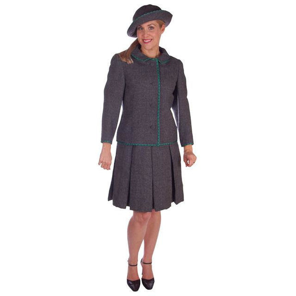 Vintage Nina Ricci  Paris Couture 1950s Gray Wool Dress Suit and Hat  36-25-38 - The Best Vintage Clothing  - 4