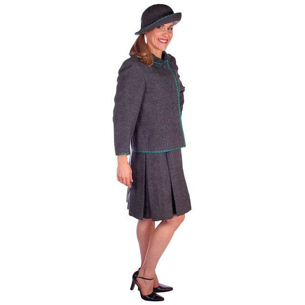 Vintage Nina Ricci  Paris Couture 1950s Gray Wool Dress Suit and Hat  36-25-38 - The Best Vintage Clothing  - 3