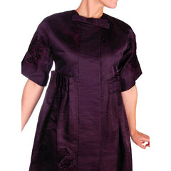 Vintage Aubergine Silk Evening Coat Created 1960s of Antique Fabric Provenance S - The Best Vintage Clothing  - 7