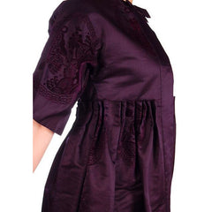 Vintage Aubergine Silk Evening Coat Created 1960s of Antique Fabric Provenance S - The Best Vintage Clothing  - 4