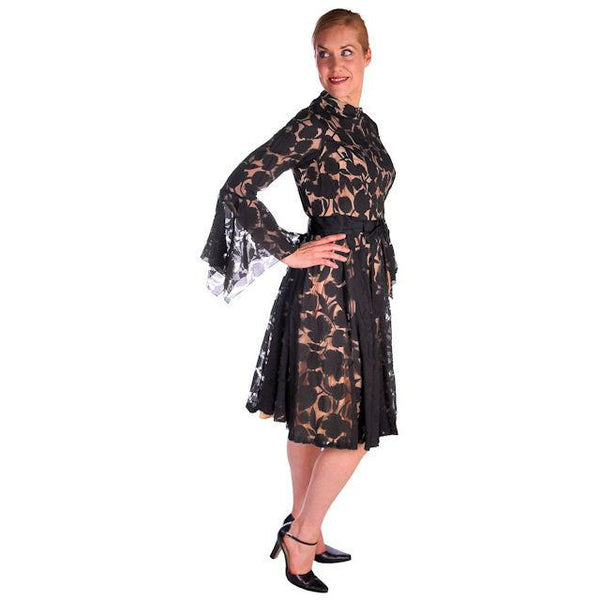 Vintage Black Burnout Nylon Chiffon Coctail Dress Drippy Sleeves 1960s - The Best Vintage Clothing  - 2