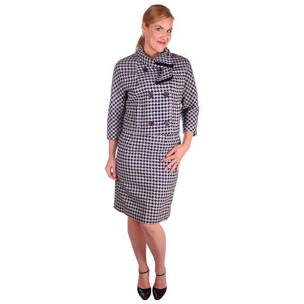Vintage Navy Blue & White Houndstooth Wool Suit Boxy Jacket 1960s 40-26-37 - The Best Vintage Clothing  - 1