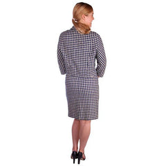Vintage Navy Blue & White Houndstooth Wool Suit Boxy Jacket 1960s 40-26-37 - The Best Vintage Clothing  - 3
