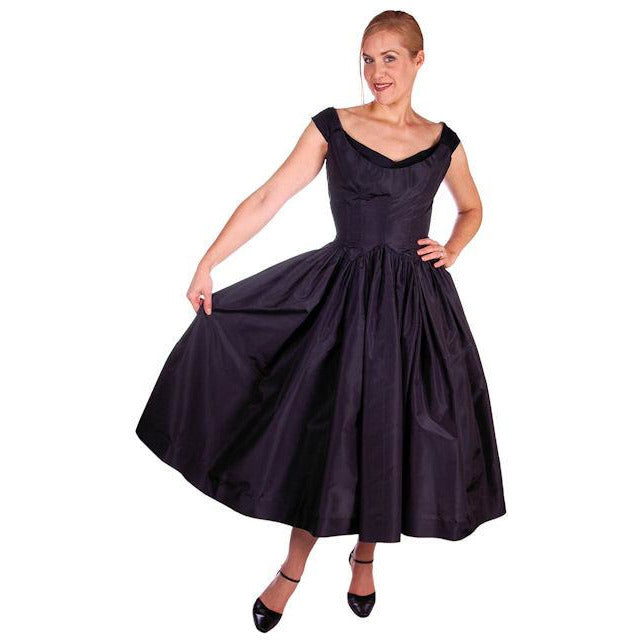 Vintage Dress 1950s Midnight Blue Silk Taffeta By Rudolf Full Skirt 38-26-Free - The Best Vintage Clothing  - 1