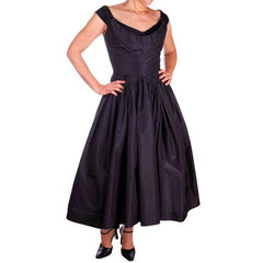 Vintage Dress 1950s Midnight Blue Silk Taffeta By Rudolf Full Skirt 38-26-Free - The Best Vintage Clothing  - 3
