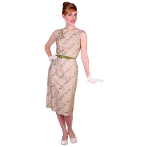 Vintage Sheath Dress Embroidered Cotton 1960s Tan 35-25-36 - The Best Vintage Clothing  - 1