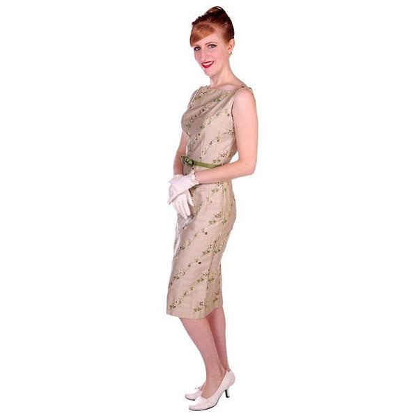 Vintage Sheath Dress Embroidered Cotton 1960s Tan 35-25-36 - The Best Vintage Clothing  - 2