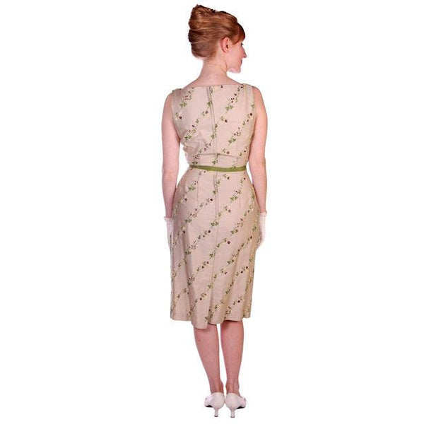 Vintage Sheath Dress Embroidered Cotton 1960s Tan 35-25-36 - The Best Vintage Clothing  - 3