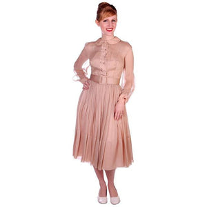 Vintage Silk Chiffon Overlay Dress Strapless Look Beige 1950s NOS 38-26-Free - The Best Vintage Clothing  - 1
