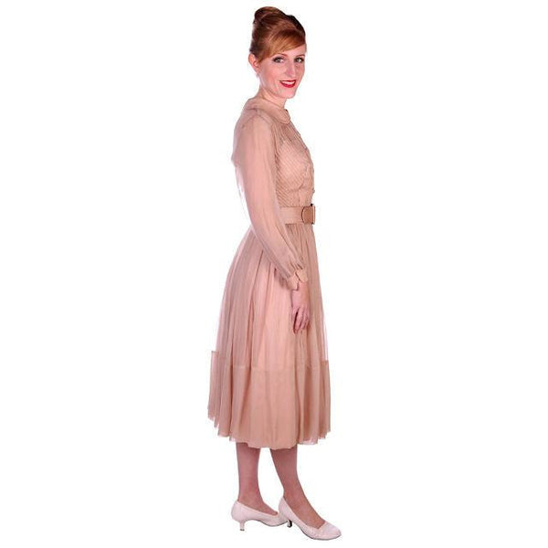 Vintage Silk Chiffon Overlay Dress Strapless Look Beige 1950s NOS 38-26-Free - The Best Vintage Clothing  - 2