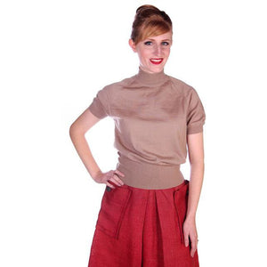Vintage Gino Paoli Tan Wool Sweater Short Sleeves Wide Waist Band 1940s Italy M - The Best Vintage Clothing  - 1