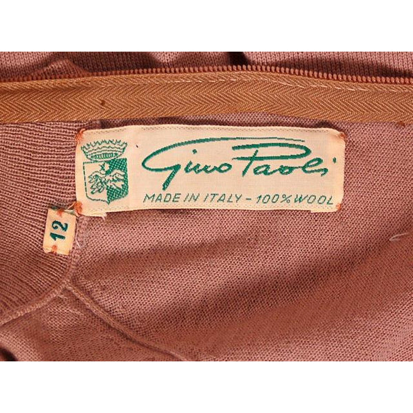 Vintage Gino Paoli Tan Wool Sweater Short Sleeves Wide Waist Band 1940s Italy M - The Best Vintage Clothing  - 5