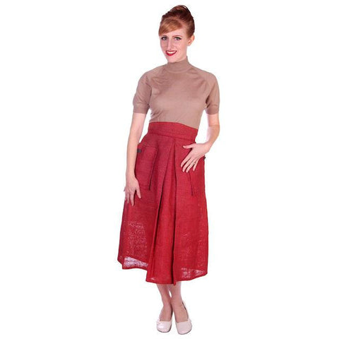 Vintage Skirt  Rosy Red Burlap Big Patch Pockets 1940s Small