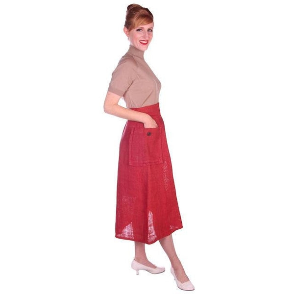 Vintage Skirt  Rosy Red Burlap Big Patch Pockets 1940s Small - The Best Vintage Clothing  - 4