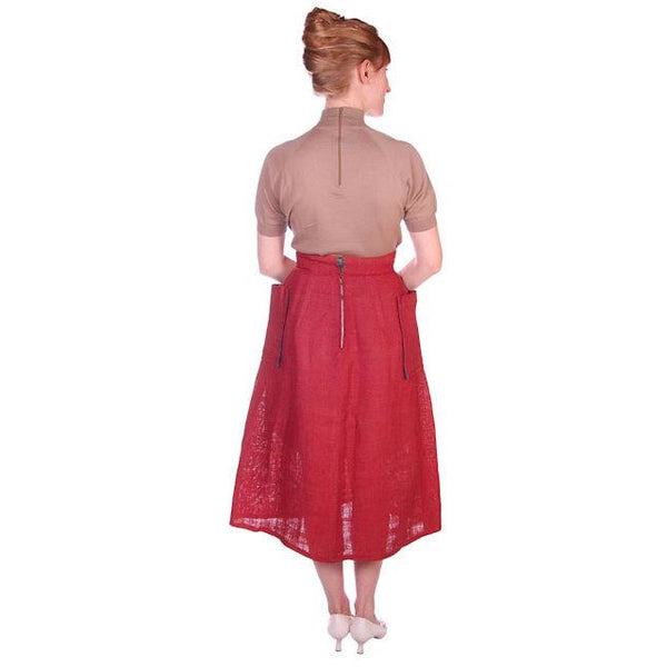 Vintage Skirt  Rosy Red Burlap Big Patch Pockets 1940s Small - The Best Vintage Clothing  - 3