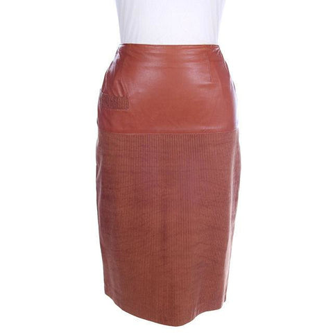 Vintage Leather  Skirt Tan St. Gillian 1980S Textured Lambskin  6