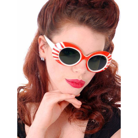 Vintage Ladies Sun Glasses Orange & White Stripes Foster Grant 300 1950s