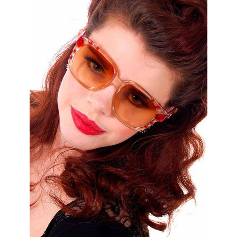 Vintage Emmanuelle Khanh Paris Sunglasses Big 1980s Red/Clear Frames 8080-401