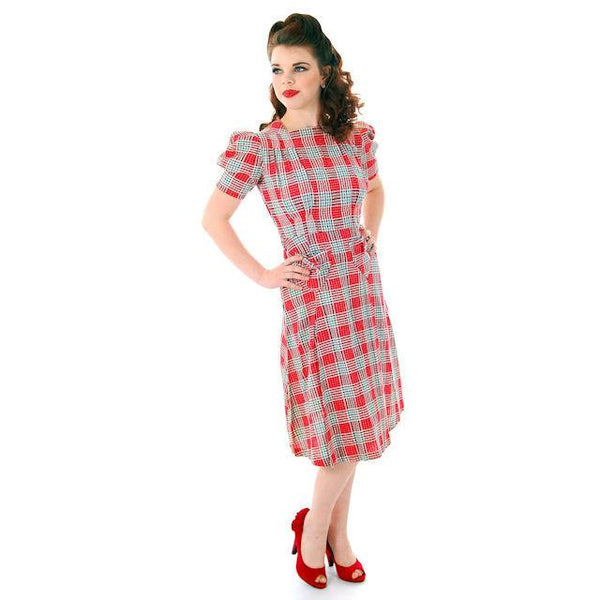 Vintage Red Plaid Dress Cotton Seersucker Deadstock Early 1940s Small - The Best Vintage Clothing  - 1