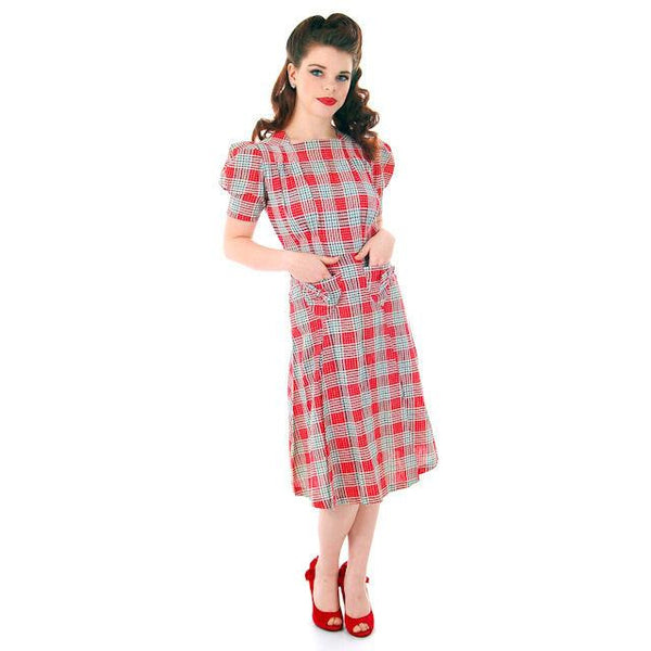 Vintage Red Plaid Dress Cotton Seersucker Deadstock Early 1940s Small - The Best Vintage Clothing  - 2