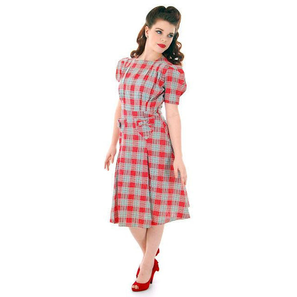 Vintage Red Plaid Dress Cotton Seersucker Deadstock Early 1940s Small - The Best Vintage Clothing  - 3
