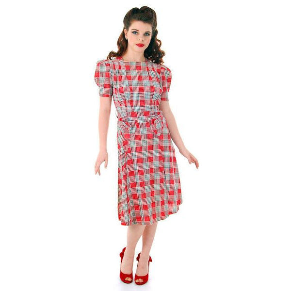 Vintage Red Plaid Dress Cotton Seersucker Deadstock Early 1940s Small - The Best Vintage Clothing  - 4