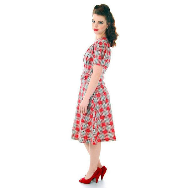 Vintage Red Plaid Dress Cotton Seersucker Deadstock Early 1940s Small - The Best Vintage Clothing  - 5