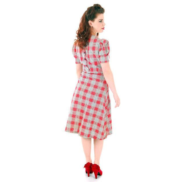 Vintage Red Plaid Dress Cotton Seersucker Deadstock Early 1940s Small - The Best Vintage Clothing  - 6