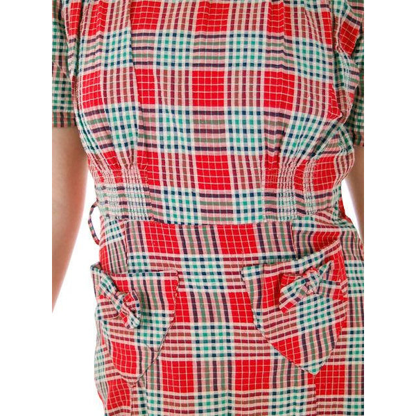 Vintage Red Plaid Dress Cotton Seersucker Deadstock Early 1940s Small - The Best Vintage Clothing  - 8