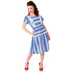 Sweet Vintage Seersucker Day Dress Blue Stripes Small Early 1940s Betty Barclay XS - The Best Vintage Clothing  - 2