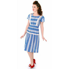 Sweet Vintage Seersucker Day Dress Blue Stripes Small Early 1940s Betty Barclay XS - The Best Vintage Clothing  - 3