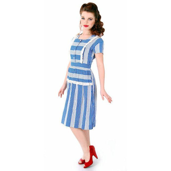 Sweet Vintage Seersucker Day Dress Blue Stripes Small Early 1940s Betty Barclay XS - The Best Vintage Clothing  - 4