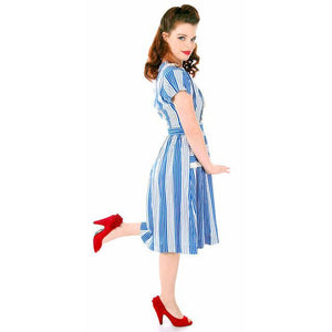 Sweet Vintage Seersucker Day Dress Blue Stripes Small Early 1940s Betty Barclay XS - The Best Vintage Clothing  - 1