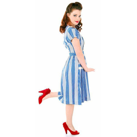 Sweet Vintage Seersucker Day Dress Blue Stripes Small Early 1940s Betty Barclay XS