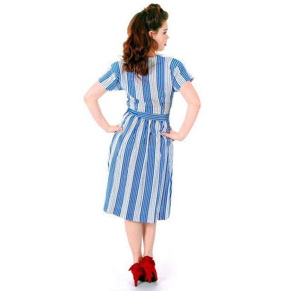 Sweet Vintage Seersucker Day Dress Blue Stripes Small Early 1940s Betty Barclay XS - The Best Vintage Clothing  - 5