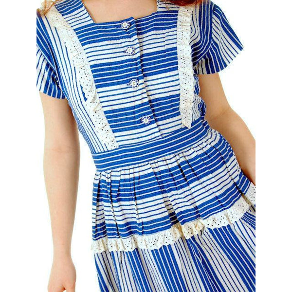Sweet Vintage Seersucker Day Dress Blue Stripes Small Early 1940s Betty Barclay XS - The Best Vintage Clothing  - 6