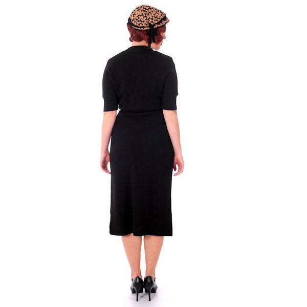 Vintage Goldworm Knit Dress 100% Wool Form Fitting Pencil Skirt Late 1940s - The Best Vintage Clothing  - 4