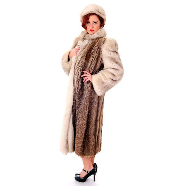 Vintage  Fox w/Raccoon Fur Maxi Coat Circa 1990s  w/ Matching Hat Paul Magder Furs - The Best Vintage Clothing  - 2